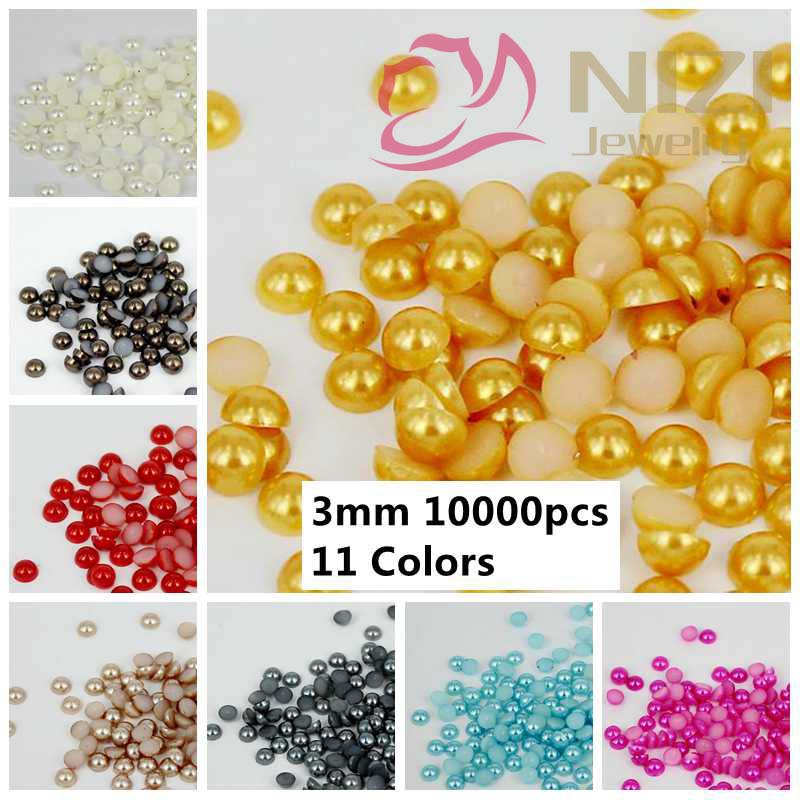 Half Round Pearl Beads 10000pcs 3mm Colors #14-#24 Crafts ABS Pearl Nail Art Ornament Jewelry Bling Hot Sale Pearlized Cabochon(Hong Kong)