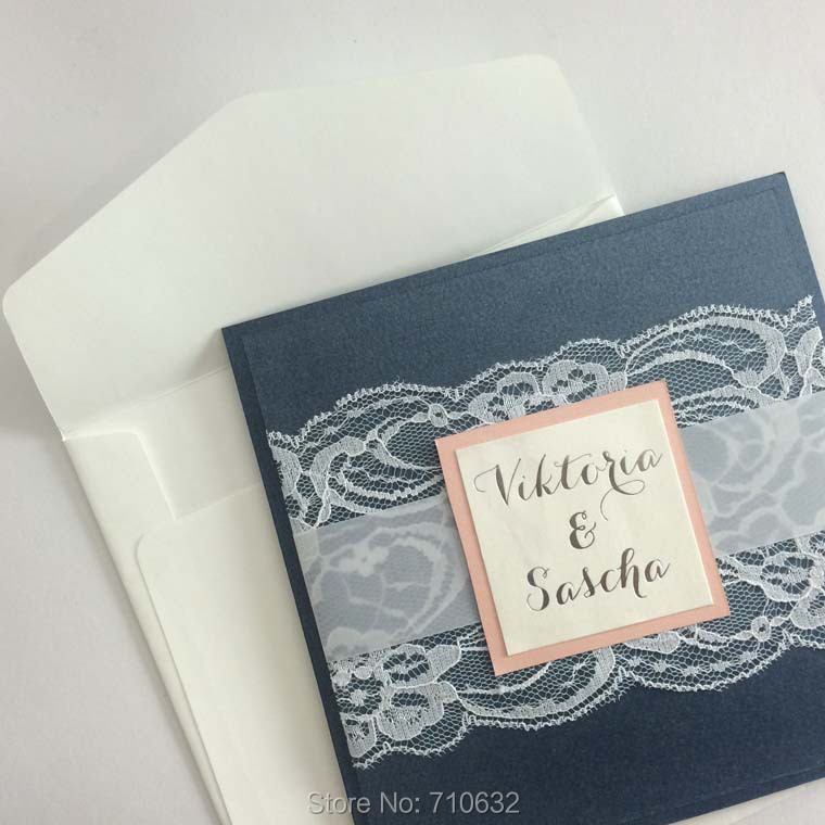 Navy blue pocket lace wedding invitations with matching for Wedding invitations with double envelopes