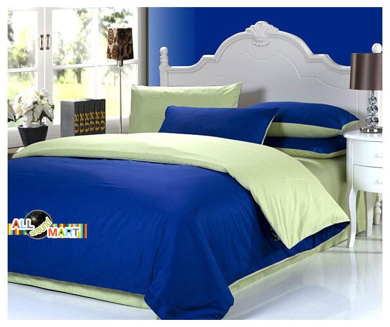 free shipping 4pcs cotton contrast color bedding set duvet cover comforter set bed sheet navy. Black Bedroom Furniture Sets. Home Design Ideas