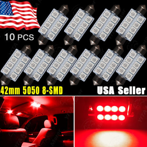 Hot Selling Car Styling 10Pcs 42MM 5050 8SMD Festoon Car LED Lights Pure Red Interior Dome Door LED Light 569 578 led Bulb Lamps(China (Mainland))