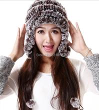 HOT SALE price autumn and winter rex rabbit fur hat and cap for women Genuine rabbit fur hat H1264(China (Mainland))