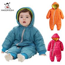 Детские Snowwear Хлопка Проложенный Один Кусок Теплой Одежды детские Комбинезоны Ребенка Ползунки Детские Зимние Комбинезоны Новорожденный Вниз и Парки(China (Mainland))