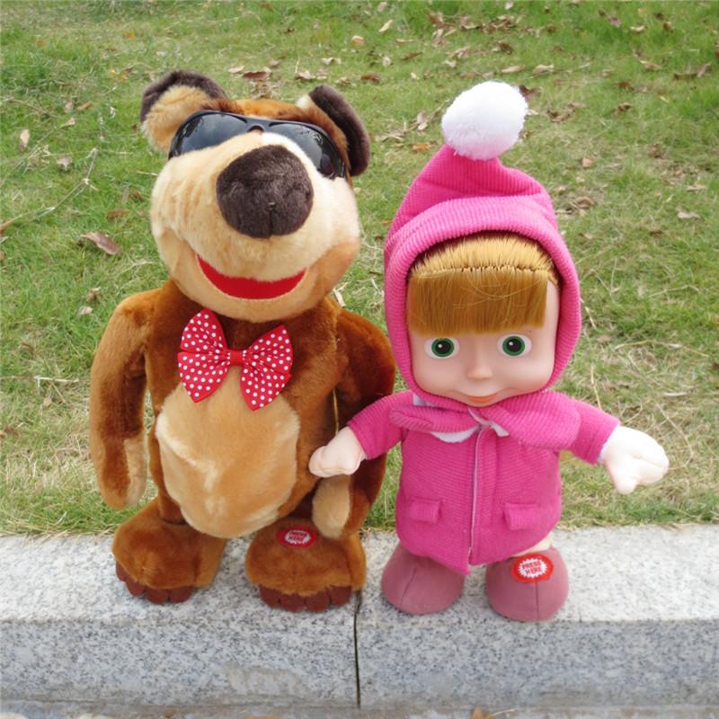 New Russian walking repeat talking masha Music Dolls plush Toy masha and bear cartoon For Kids Baby Girls Russia Unique Gifts(China (Mainland))
