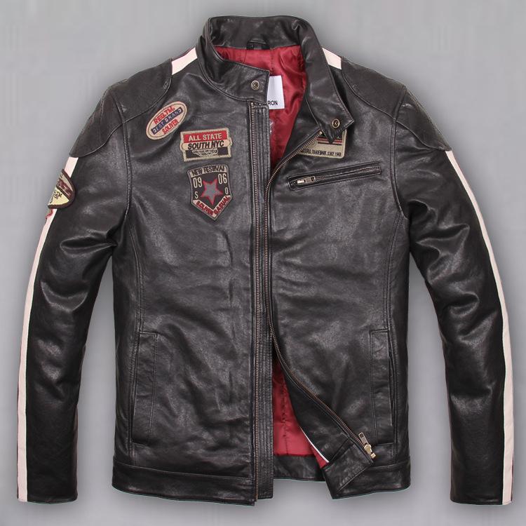 2015 autumn winter Slim short Mens 100% Vegetable tanned sheepskin more badges motorcycle Harley jacket flight jacket DHL free(China (Mainland))