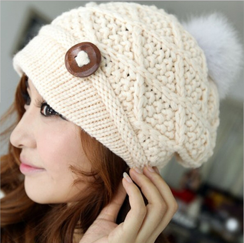 Free Shipping 2014 Winter Woman's Wool Cap Wholesale Solid Color Ladies Knitted Wooden button Hats & Caps With Fur Balls(China (Mainland))