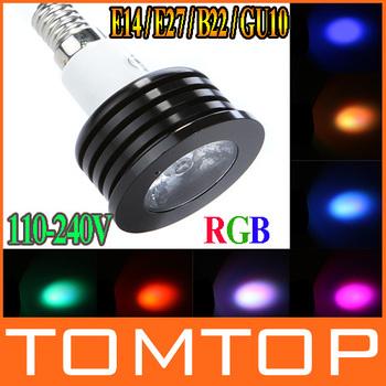 High Power E27 E14 B22 GU10 4W RGB LED Bulb Music Control led Spotlight 2 Million Color Light with Aluminium Body + IR Remote