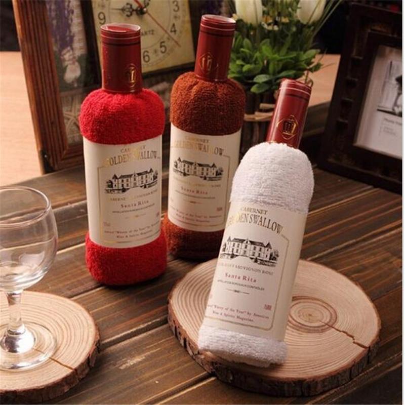 2016 Hot Creative wine bottle shape towel gift opp bags present box single wine bottle 100% cotton towel Free Shipping(China (Mainland))