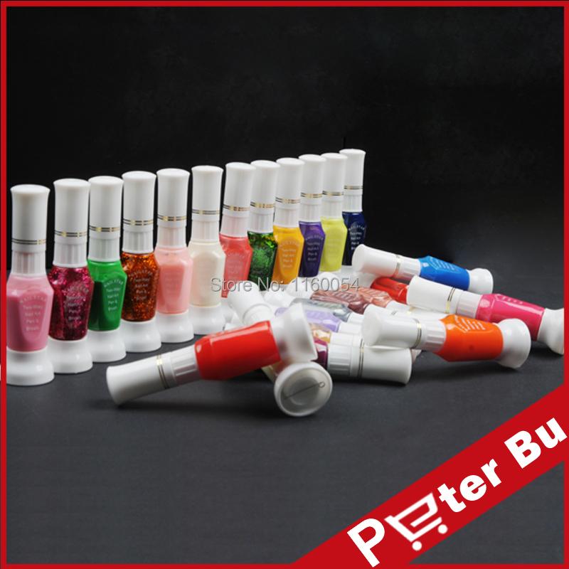 24 colors 2 way nail art polish with brush & pen varnish 24 colour/lot for uv gel acrylic nail art tools kit(China (Mainland))