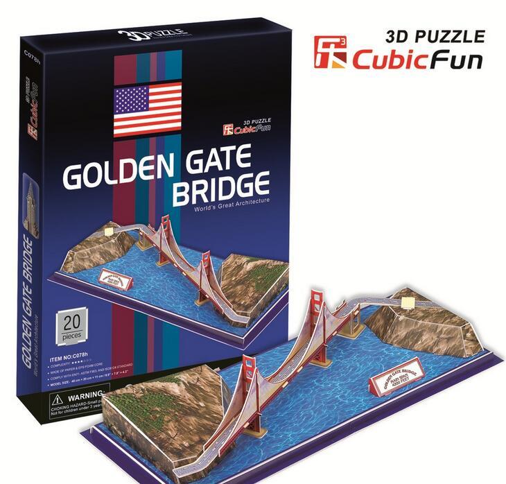 Medium Size Cubic Fun 3D Paper Puzzle Golden Gate Bridge C078H 20pcs 48*20*11CM(China (Mainland))