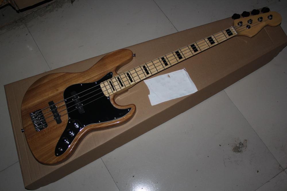Chinese Factory Custom shop 2015 New custom jazz 4 Strings Natural wood color Bass Guitar(China (Mainland))