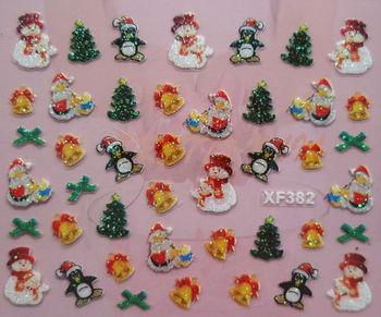 Free Express 24 kinds Christmas Designs 3D Nail Art Christmas Nail Sticker Decal Holidays  Nail Art Decoration XF382