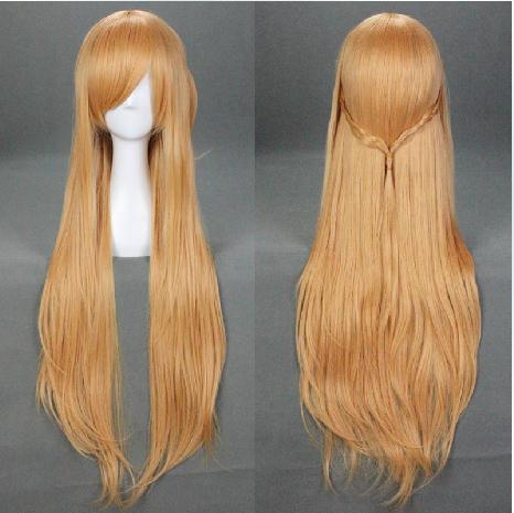 Sword Art Online Asuna Yuuki Cosplay wig long Golden straight hair synthetic 100cm heat resistent hairpiece