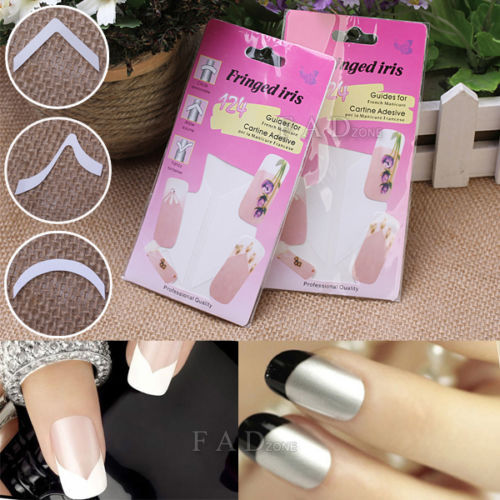 2 Packs French Manicure Nail Tips Guides Adhesive Stickers For Salon Pedicure(China (Mainland))