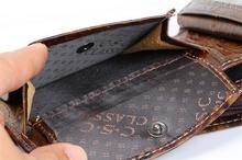 New Mens Vintage Totem Flower Pattern Texture Coffee Real Genuine Leather Bifold Clutch Wallet Gentlemen Credit