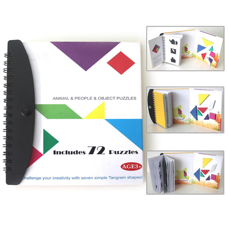 Creative Toys 72 Puzzles Magnetic Tangram Toys Challenge IQ Montessori Educational Book education learning toy(China (Mainland))