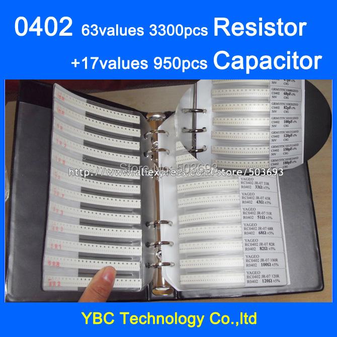 Free shipping 0402 SMD Sample Book 63values 3300pcs Resistor Kit and 17values 950pcs Capacitor Set(China (Mainland))
