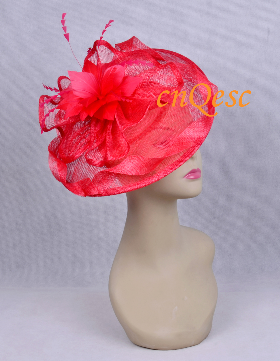 Red Big feather fascinator sinamay hat for wedding kentucky derby.(China (Mainland))