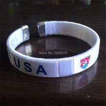 12pcs/lot national team cheerleading football flag sport Bangles wristband football souvenirs gifts soccer badge USA bracelet(China (Mainland))