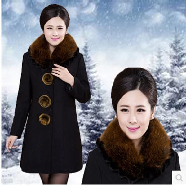 2015 Middle-Age Women Winter Plus Size Woolen Coat Fox Fur Collar Long Xl/5Xl Casual Wool Jacket Outwear Free Shipping S1099Одежда и ак�е��уары<br><br><br>Aliexpress