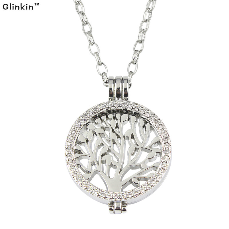 Hot Selling My Coin Life Tree Pattern Disc Pendant with Necklace and Coin Holder for Women Silver Jewelry 1Set(China (Mainland))