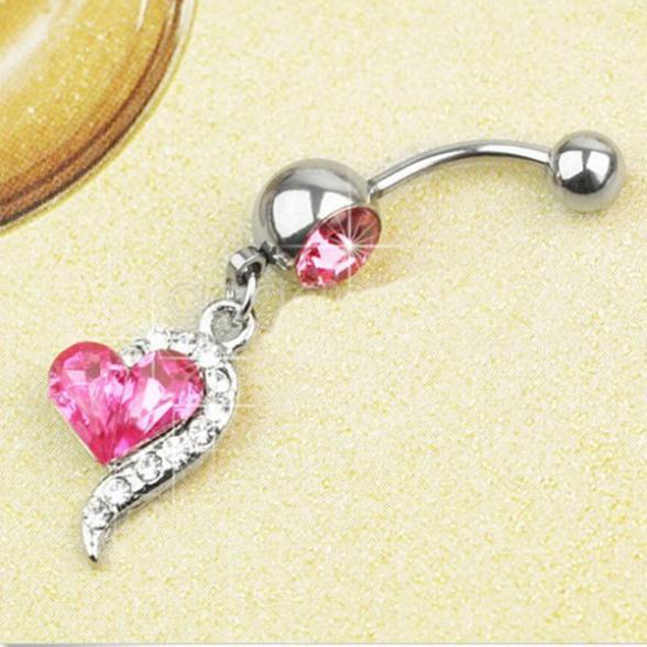 Гаджет  1pcs Rose Red Rhinestone Crystal Heart Barbells Navel Belly Bar Button Ring Body Piercing None Ювелирные изделия и часы