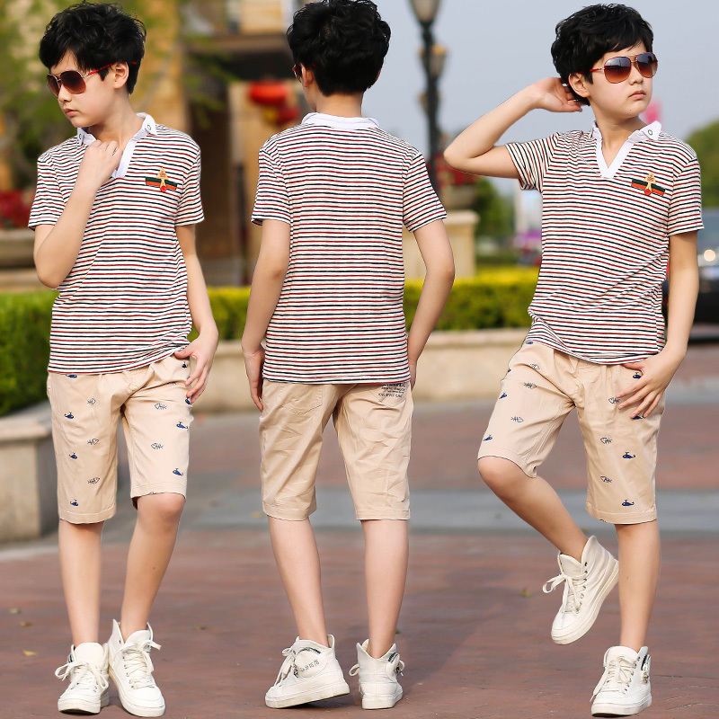 Boys summer clothing sets 10 children's clothing 2016 new kids short-sleeve striped sport suit 12-15 years teenage casual sets(China (Mainland))