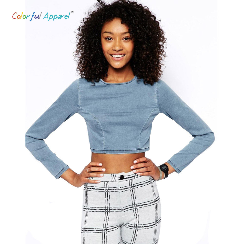 Colorful apparel new denim jeans crop top long sleeve plus for Tight t shirt crop top