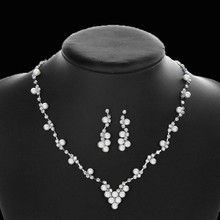 Mecresh Simulated Pearl Bride Wedding Jewelry Sets Simple Crystal Bridal Necklace Earrings Bracelets Sets for Women TL059+SL077(China)