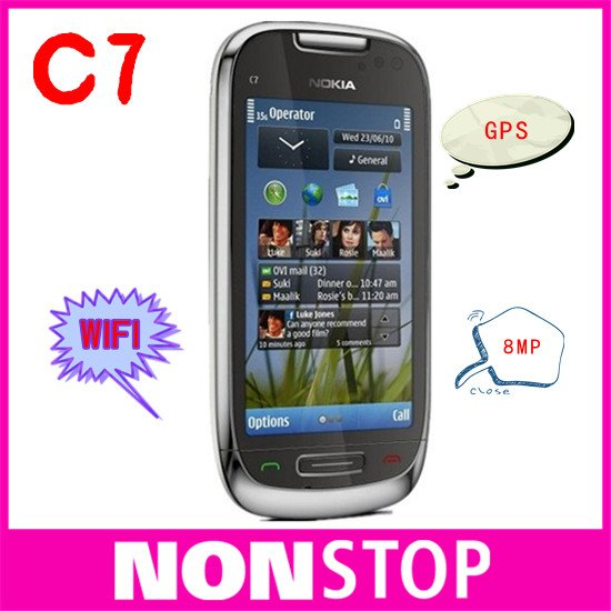 C7-00 Original Nokia C7 3G Wifi A-GPS Java 8MP camera Unlocked mobile phone 8GB internal storage(China (Mainland))