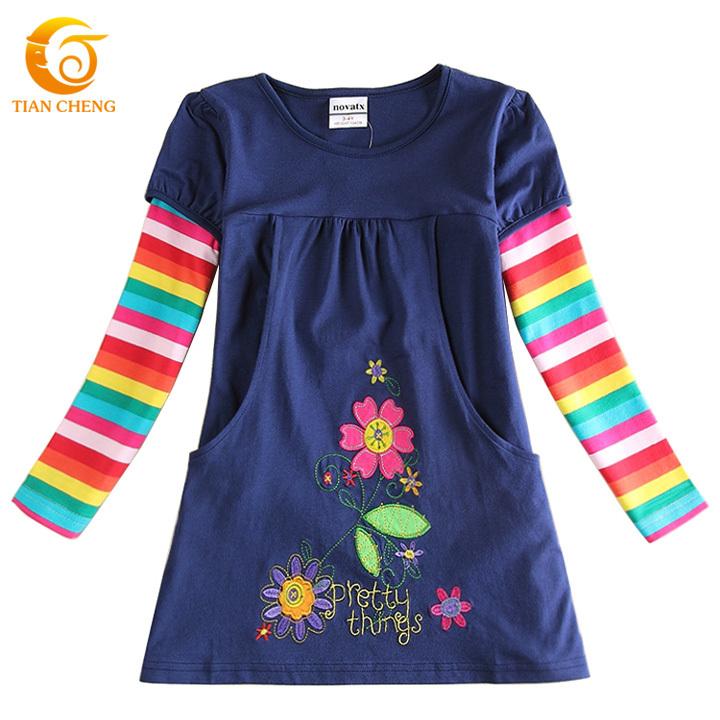 Nova Winter Spring Party Kids Dresses For Girls Casual Cotton Floral Kids Clothes Vestidos Meninas Ropa Ninas 2015 Invierno(China (Mainland))