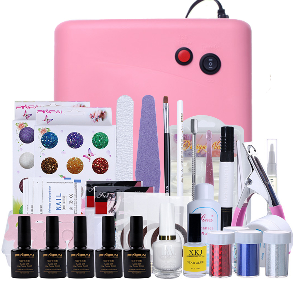 2016 New Factory Price Nail tools art 36W UV Lamp + 12 Color UV Gel + Builder gel Art Tool Kits for manicure set Tools Brand(China (Mainland))