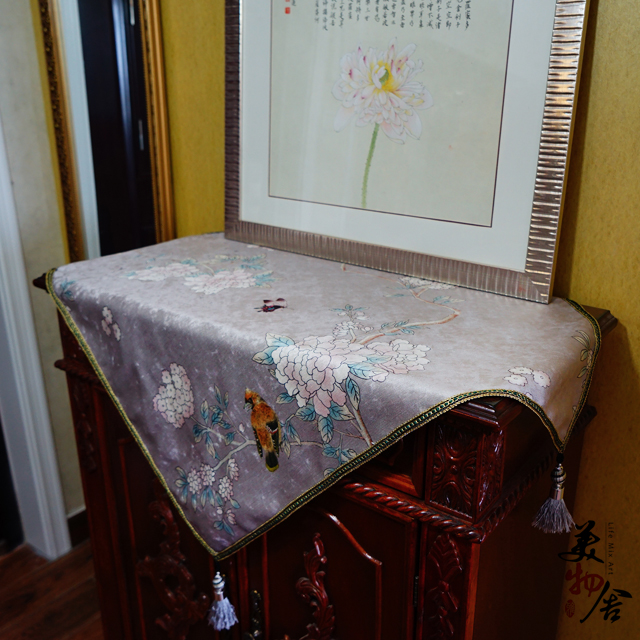 Thick Silver Embroidery Bird Flower Refrigerator Dresser Night Table Cloth Cover Wedding Room Sofa Home Hotel