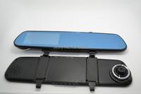 4.3 дюймовый fhd 1080p голубой зеркало автомобиль камеры зеркало заднего вида водонепроницаемый парковка резервное копирование видеорегистратор g сенсор h.264 dual объектив автомобиль dvr h237