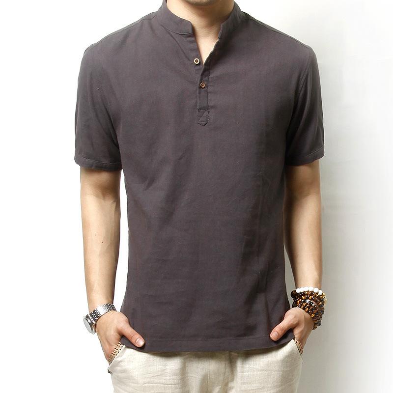Summer linen cotton short sleeved shirt men korean yards for Mens summer linen shirts