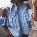 2016 Summer Women Fashion Casual Blouse Shirts Blue WHITE Sexy Off Shoulder Ruffles Short Blusas Ladies