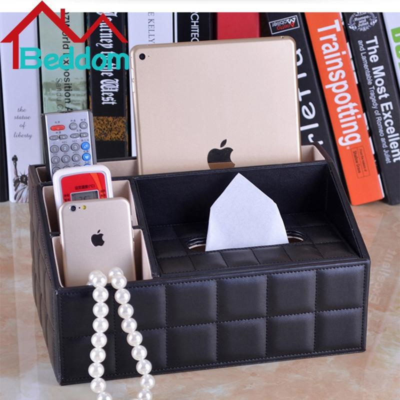Beddom PU Leather Home Desk Organizer Storage Box Holder TV Remote Controls Media Jewelry Holder Organizer Desktop Storage Box(China (Mainland))