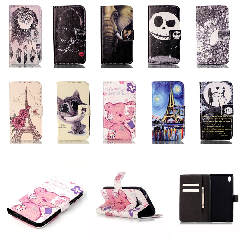 Fashion Bear Owl Leather Flip Case For Sony Ericsson Xperia M4 Aqua Cat Red lip Rose Tower Wallet Cover with Card Holder(China (Mainland))
