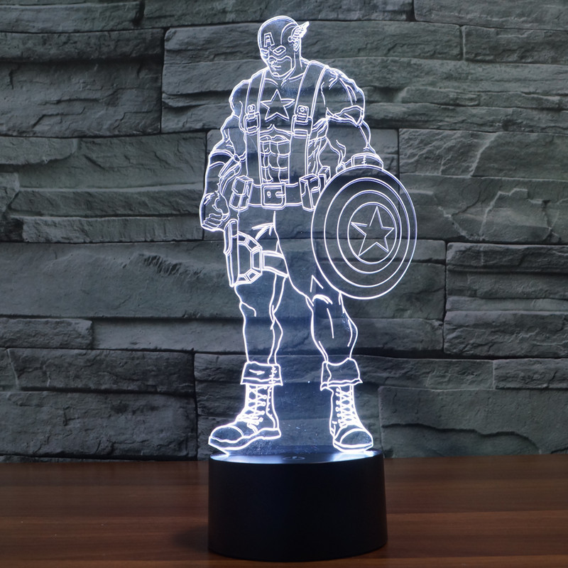 New 3D Led Lamp the new captain America colorful 3 d light 3 d vision light Touch switch illusion light department(China (Mainland))