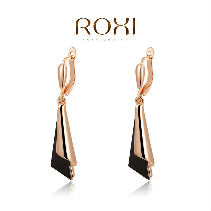 ROXI Free Shipping Best Gift For Girlfriend Pure Hand-made Elegant Statement Triangle Earrings For Women Party Wedding2020002275(China (Mainland))