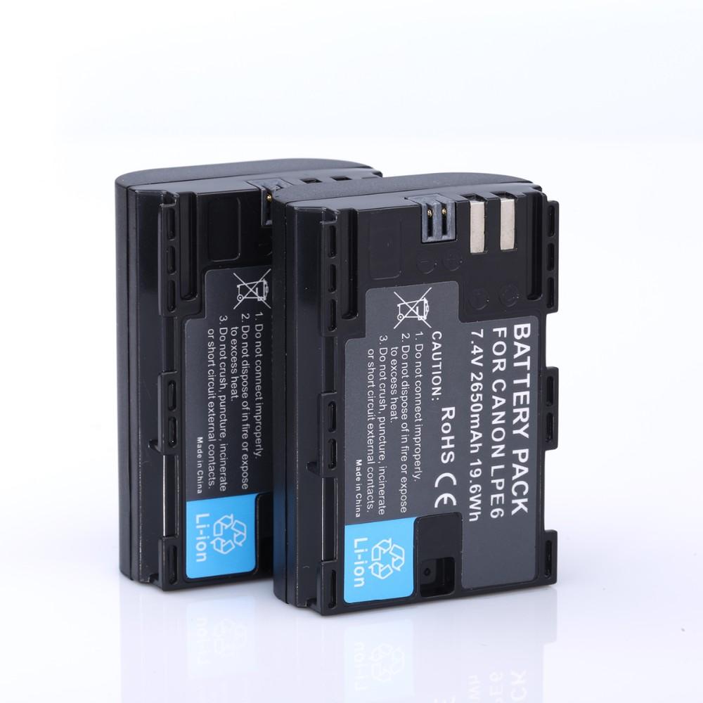 ถูก 2ชิ้นLP-E6 LPE6 LP E6แบตเตอรี่แบบชาร์จไฟอย่างเต็มที่รหัสรุ่น+ USBคู่ชาร์จสำหรับCanon 6D 5D M Ark III 5D M Ark II 7D 60D