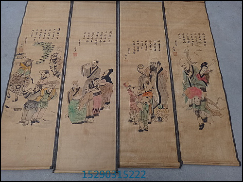 Antique four screens scroll paintings, calligraphy and painting portraits chudo Tsuruta mural 3044<br><br>Aliexpress