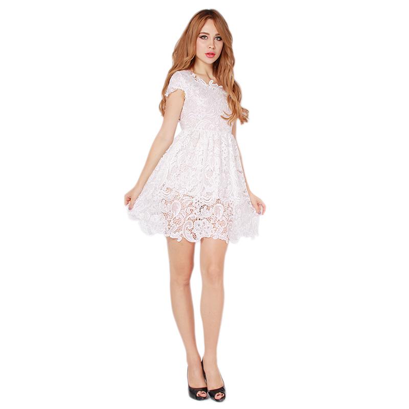 High-grade White Women Lace Crochet Hollow out Princess Mini Dresses Women Cute Short Sleeve O-neck Slim Ball Gown 666962(China (Mainland))