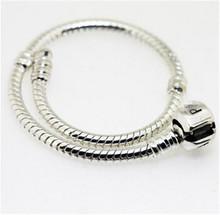 Hot charm Bracelet, 925 Sterling Silver bracelet ,3MM Snake Chain fit European Beads Pandora bracelet jewelry for women and men(China (Mainland))