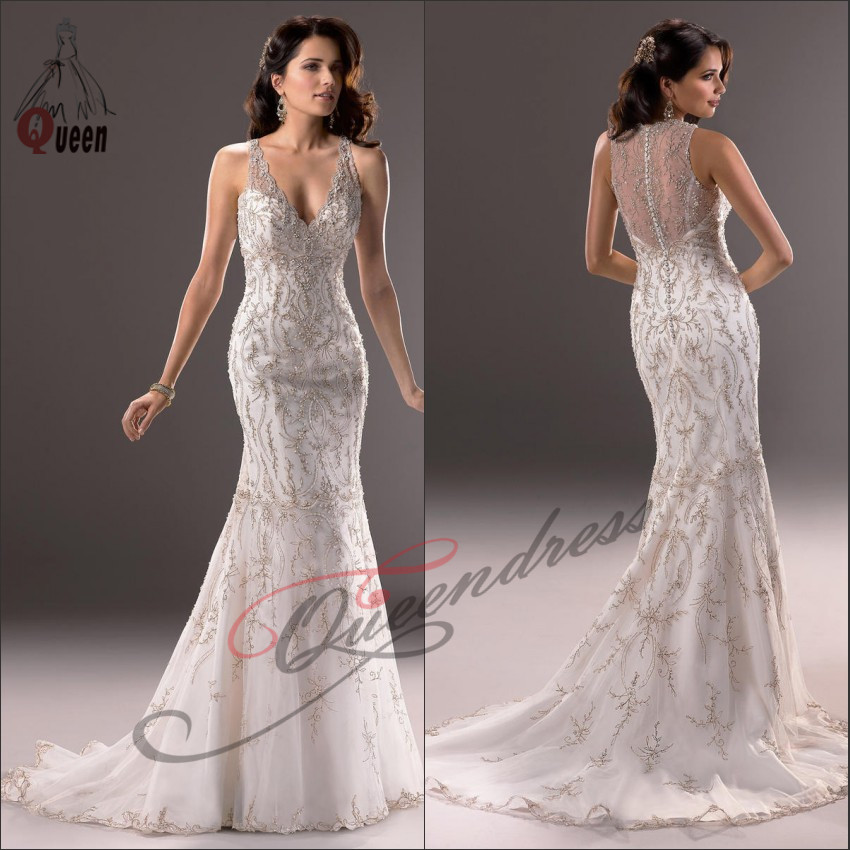 Sparkle mermaid cap sleeve v neck open back embroidery for Cap sleeve open back wedding dress