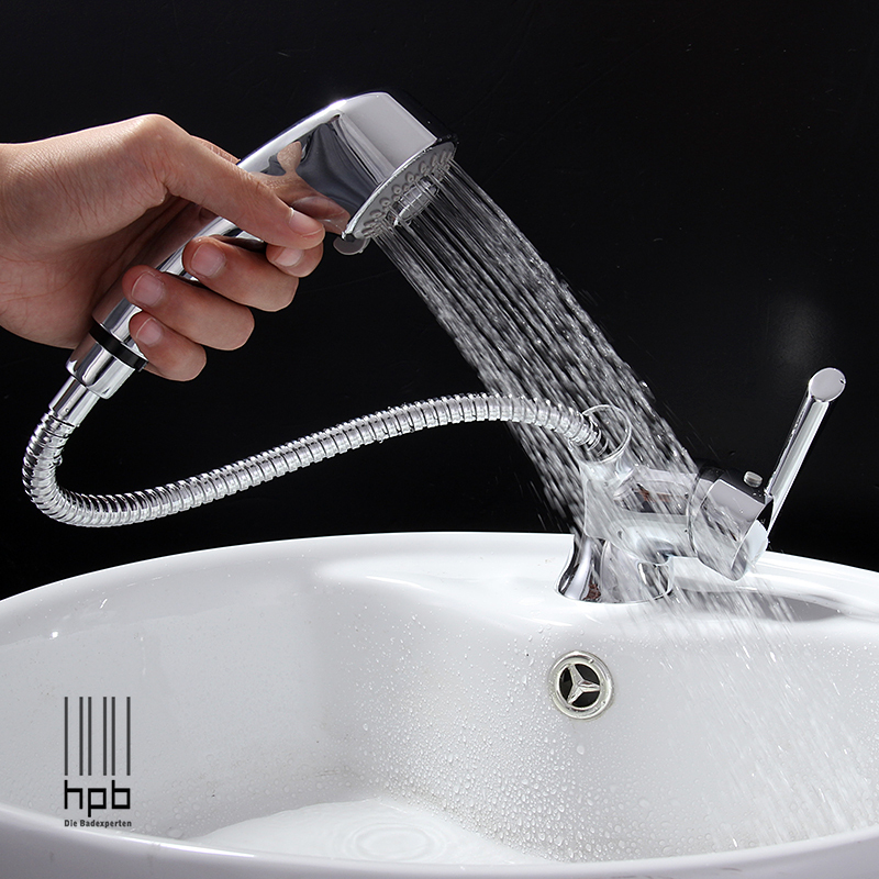 HPB Brass Pull Out Spray Hot And Cold Water Bathroom Basin Faucet Water Tap T