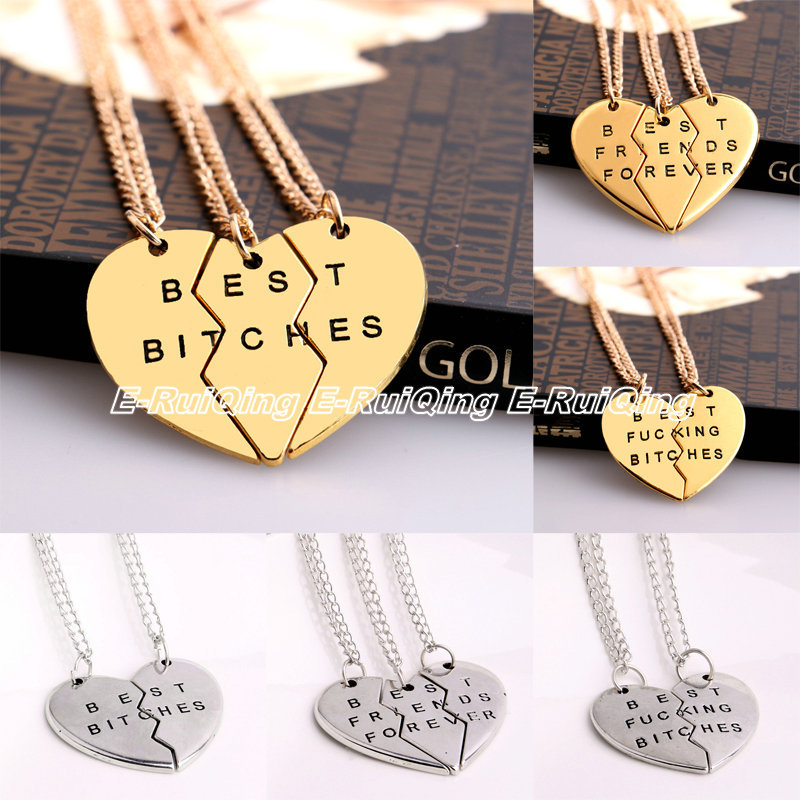 New Chic Best Bitches Best Friend Forever Broken Heart Parts Pendant Necklace Chain Fashion Jewelry Gifts Friendship Love Sister(China (Mainland))