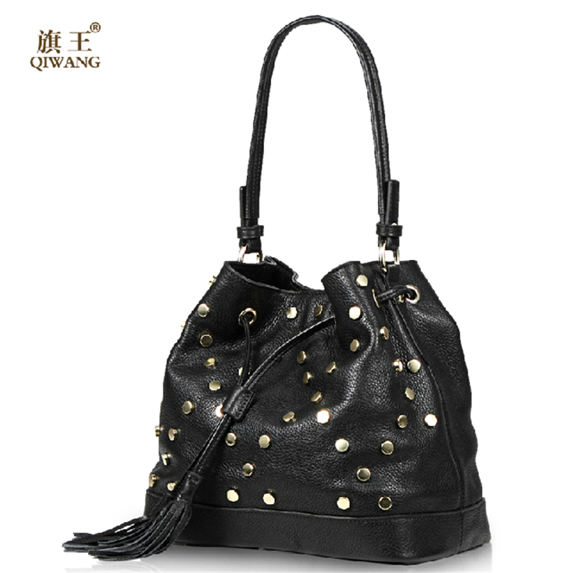 QIWANG Real Leather Bucket Bag Rivet Handbag Women Genuine Leather Handbags High Quality C Bag Luxury Brand Hip Hop Rock Bag(China (Mainland))