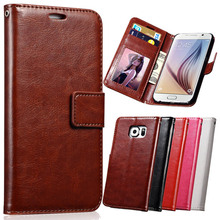 Luxury PU Leather Case For Samsung Galaxy S6 G9200 Wallet Style Stand Phone Bag Case For Galaxy S6 With Photo Slot