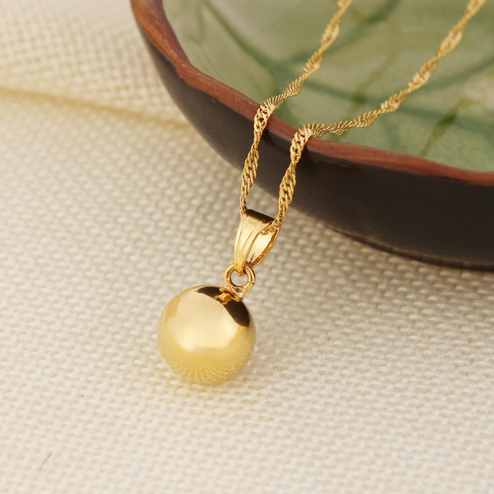 Gold 12mm Ball Pendant & Necklace High-quality 24k Gold Fine Sphere Jewelry Outdoor Sporty For Women Girls Great Gift Items(China (Mainland))