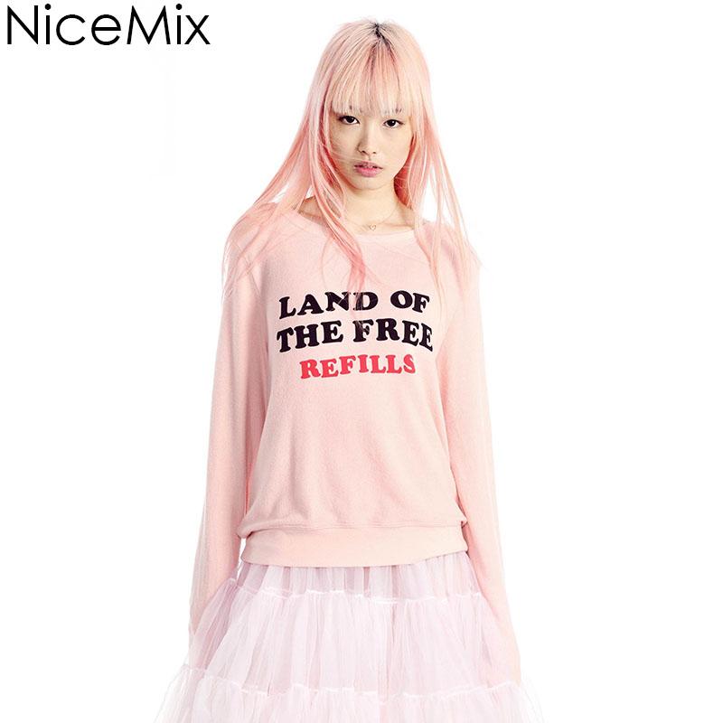 NiceMix 2016 Hoodies Pink Women Sweatshirts Kawaii Print Letters Loose Casual Moletom Sweatshirt Pullovers Sweat Femme Harajuku(China (Mainland))